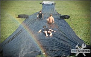 A backyard slip n' slide